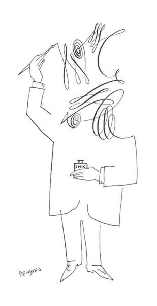 Self Portrait Drawing - New Yorker July 10th, 1954 by Saul Steinberg