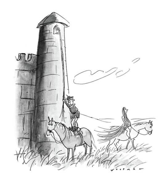 Lady Godiva Drawing - New Yorker July 11th, 1988 by Bill Woodman