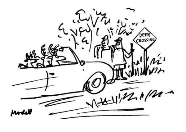 Deer Drawing - New Yorker July 12th, 1993 by Frank Modell