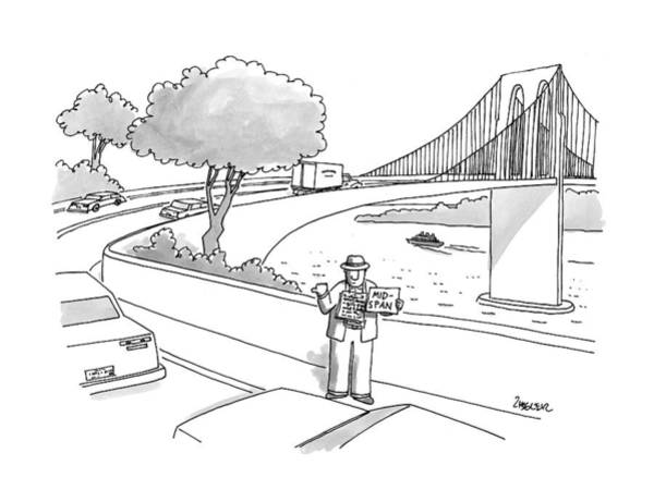 Traffic Drawing - New Yorker July 14th, 1997 by Jack Ziegler