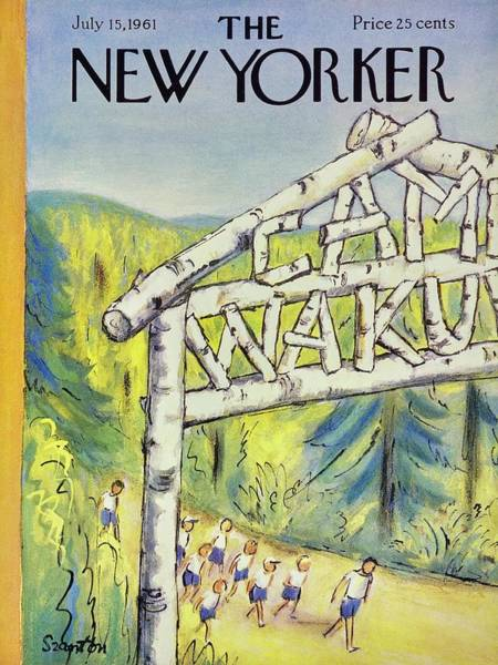 Summer Camp Painting - New Yorker July 15th 1961 by Beatrice Szanton