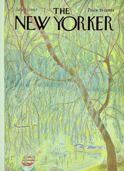 Lake Painting - New Yorker July 15th 1967 by Ilonka Karasz