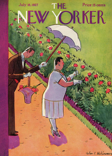 Summer Garden Painting - New Yorker July 16th, 1927 by Helen E. Hokinson