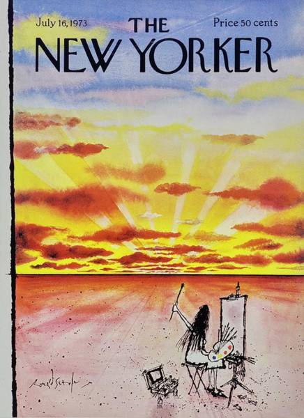 Sunset Painting - New Yorker July 16th 1973 by Ronald Searle