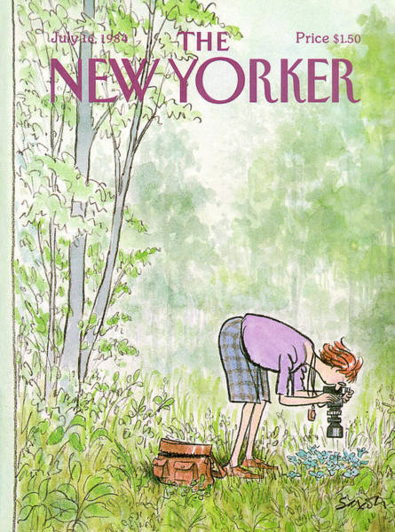 Blue Flower Painting - New Yorker July 16th, 1984 by Charles Saxon