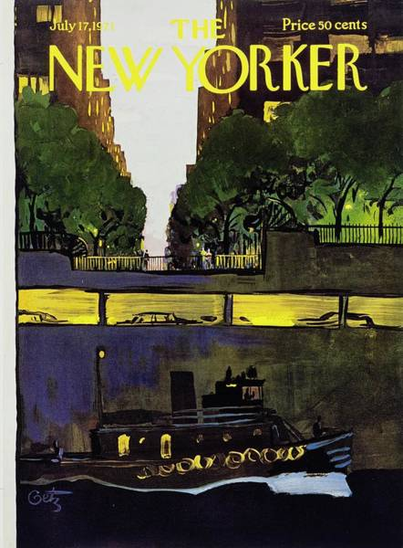Mid Atlantic Painting - New Yorker July 17th 1971 by Arthur Getz