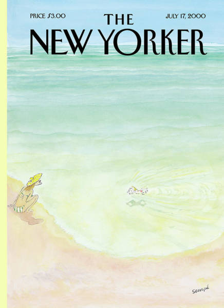 Water Painting - New Yorker July 17th, 2000 by Jean-Jacques Sempe