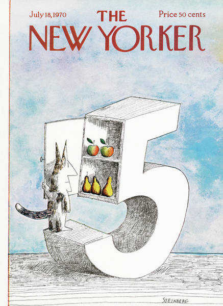 Apples Painting - New Yorker July 18th, 1970 by Saul Steinberg