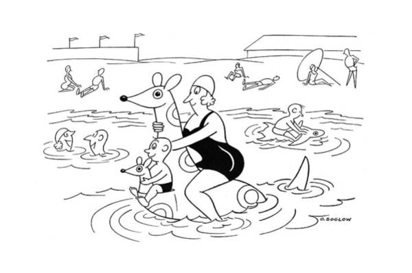 Shore Drawing - New Yorker July 1st, 1944 by Otto Soglow