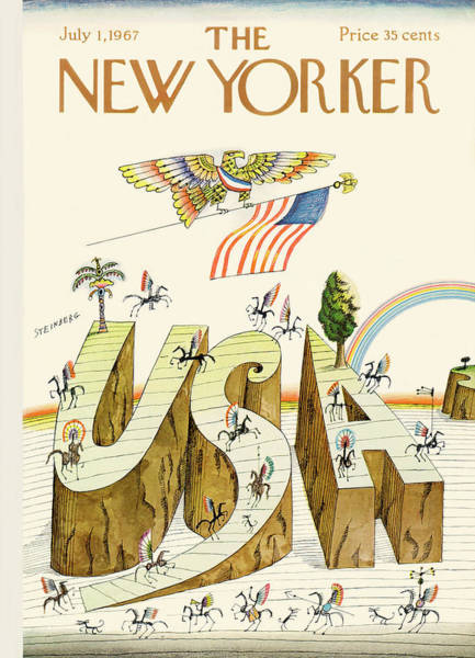 Riding Painting - New Yorker July 1st, 1967 by Saul Steinberg