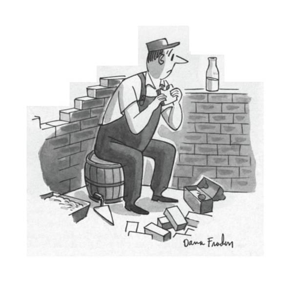 Row Drawing - New Yorker July 21st, 1956 by Dana Fradon