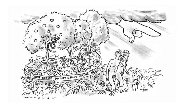 Adam And Eve Drawing - New Yorker July 22nd, 1996 by Bill Woodman