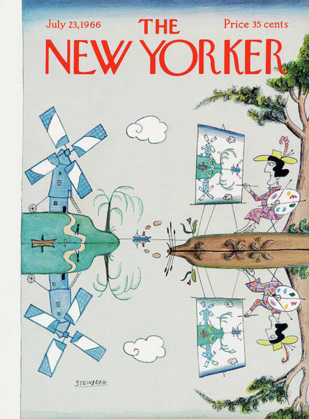Lake Painting - New Yorker July 23rd, 1966 by Saul Steinberg