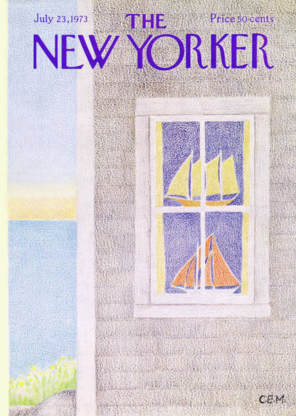 Sailboat Painting - New Yorker July 23rd, 1973 by Charles E Martin