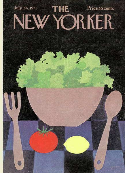 Table Painting - New Yorker July 24th, 1971 by Charles E Martin