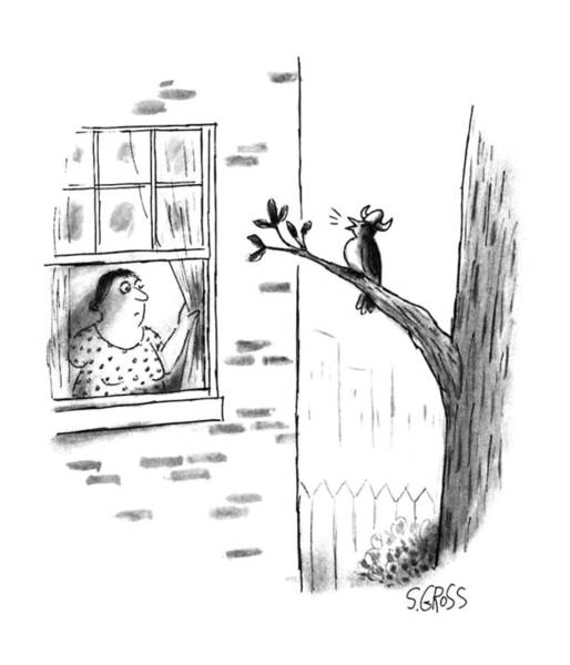 Tree Drawing - New Yorker July 24th, 1995 by Sam Gross