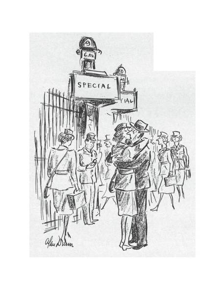 Railroad Station Drawing - New Yorker July 25th, 1942 by Alan Dunn
