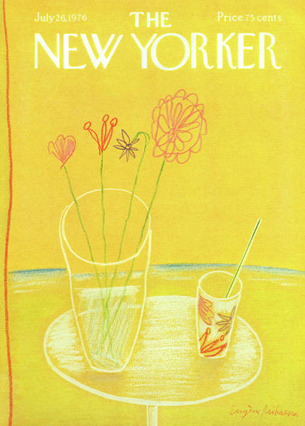 Table Painting - New Yorker July 26th, 1976 by Eugene Mihaesco