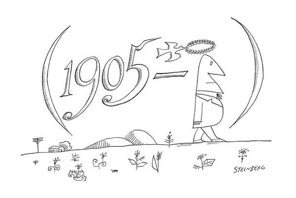 Tear Drawing - New Yorker July 28th, 1962 by Saul Steinberg
