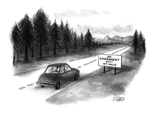Highway Drawing - New Yorker July 29th, 1996 by Sam Gross