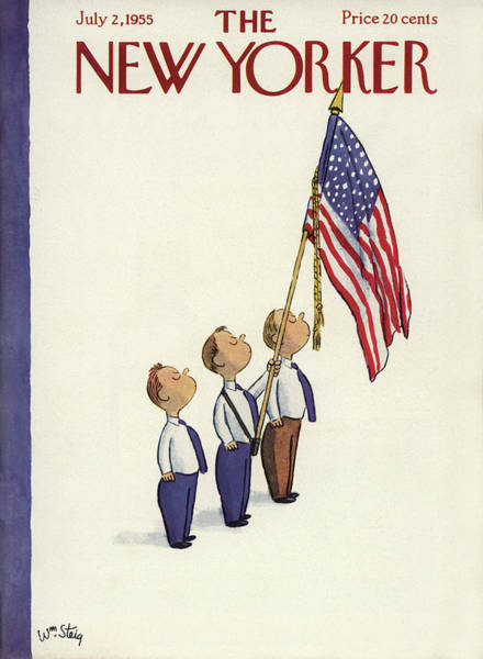 News Stand Painting - New Yorker July 2nd, 1955 by William Steig