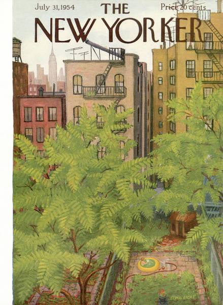 Bronx Painting - New Yorker July 31st, 1954 by Edna Eicke