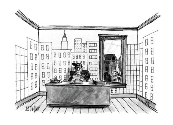 Farmer Drawing - New Yorker July 4th, 1988 by Warren Miller