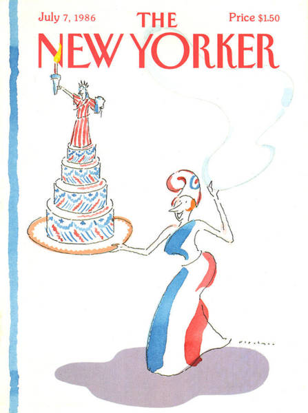 Dress Painting - New Yorker July 7th, 1986 by RO Blechman