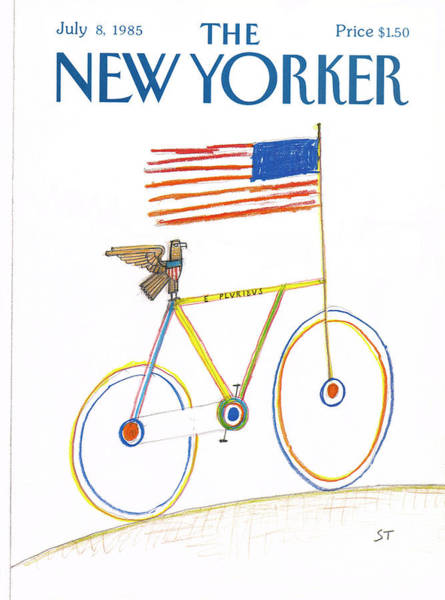Bicycle Painting - New Yorker July 8th, 1985 by Saul Steinberg
