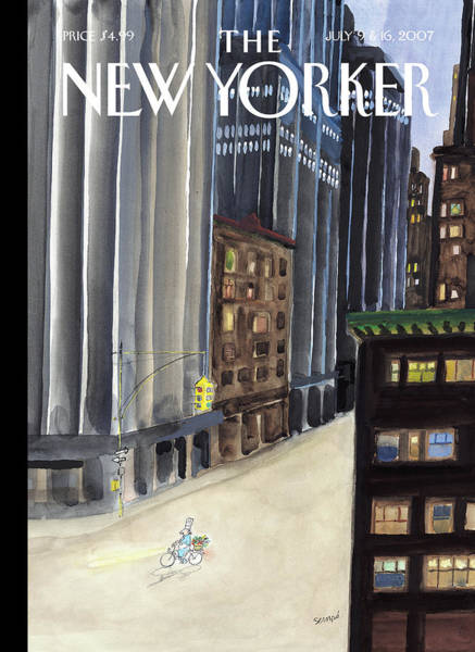 Bicycle Painting - New Yorker July 9th, 2007 by Jean-Jacques Sempe