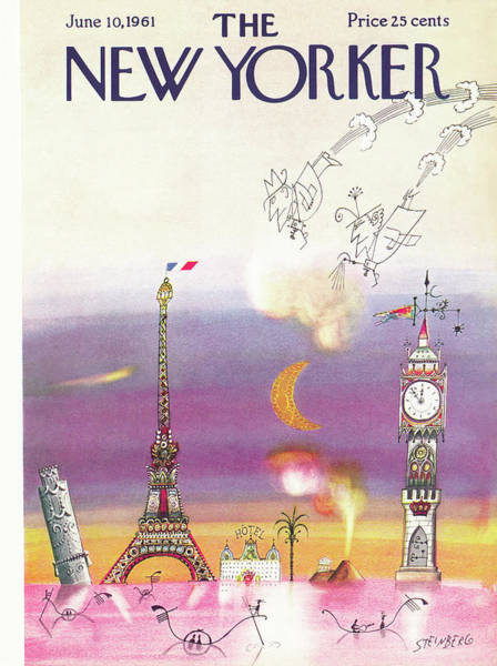 Moon Painting - New Yorker June 10th, 1961 by Saul Steinberg