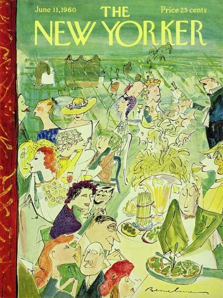 Table Painting - New Yorker June 11th 1960 by Ludwig Bemelmans