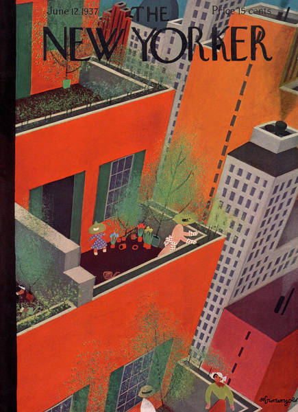 Roof Painting - New Yorker June 12th, 1937 by Adolph K. Kronengold