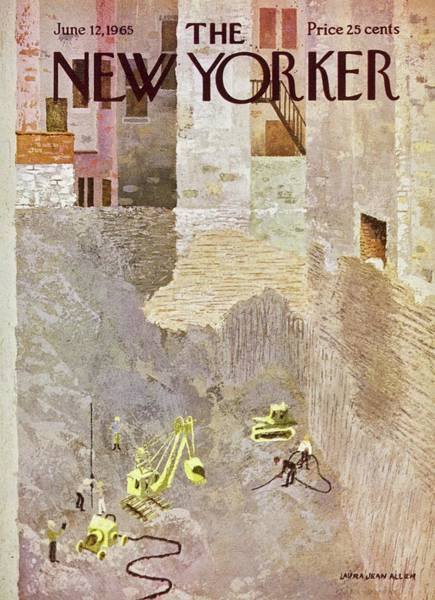 Cement Painting - New Yorker June 12th 1965 by Laura Jean Allen