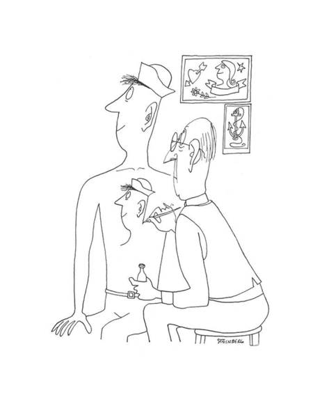Self Portrait Drawing - New Yorker June 13th, 1942 by Saul Steinberg
