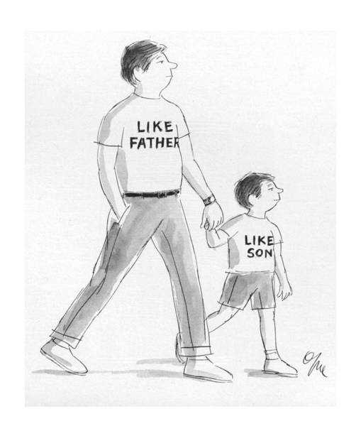 Father Drawing - New Yorker June 13th, 1983 by Everett Opie
