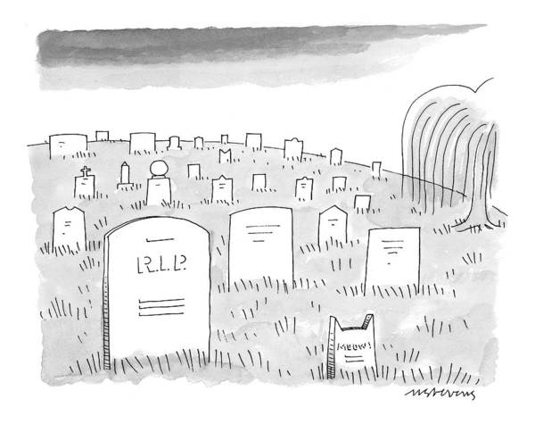Gravestone Drawing - New Yorker June 14th, 1999 by Mick Stevens