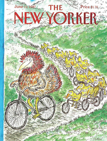 Bicycle Painting - New Yorker June 15th, 1987 by Edward Koren
