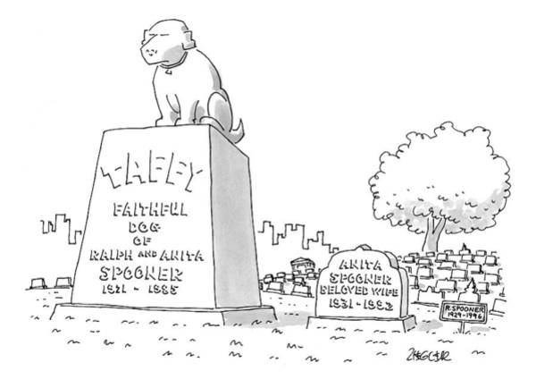 Gravestone Drawing - New Yorker June 15th, 1998 by Jack Ziegler