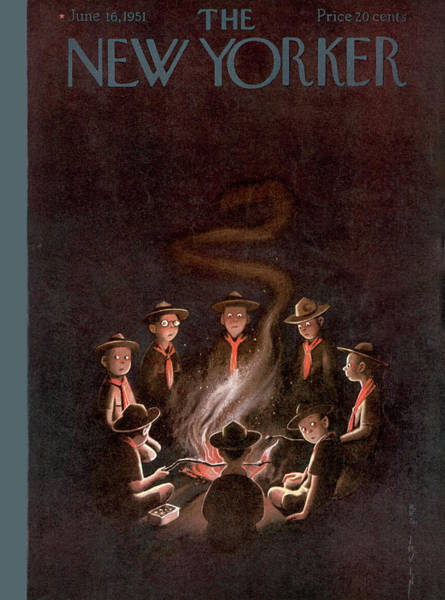 Night Painting - New Yorker June 16th, 1951 by Rea Irvin