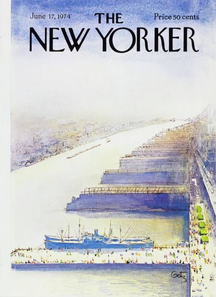 Mid Atlantic Painting - New Yorker June 17th 1974 by Arthur Getz