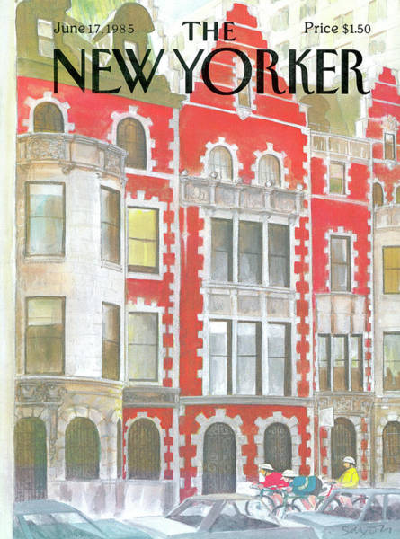 Bicycle Painting - New Yorker June 17th, 1985 by Charles Saxon
