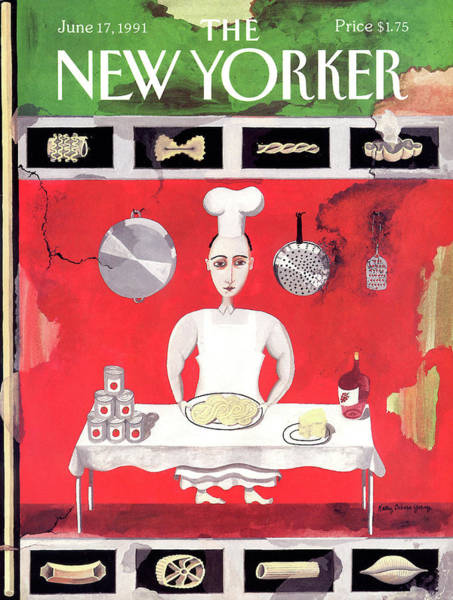 Italian Cooking Painting - New Yorker June 17th, 1991 by Kathy Osborn