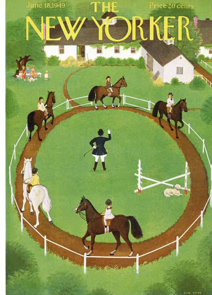 Race Painting - New Yorker June 18th, 1949 by Edna Eicke