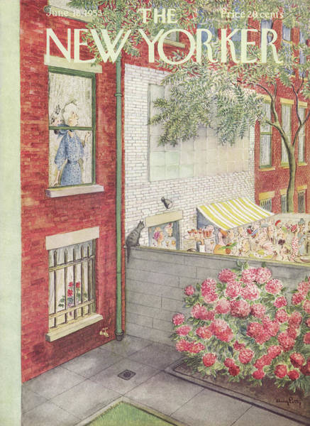 Suburban Painting - New Yorker June 18th, 1955 by Mary Petty