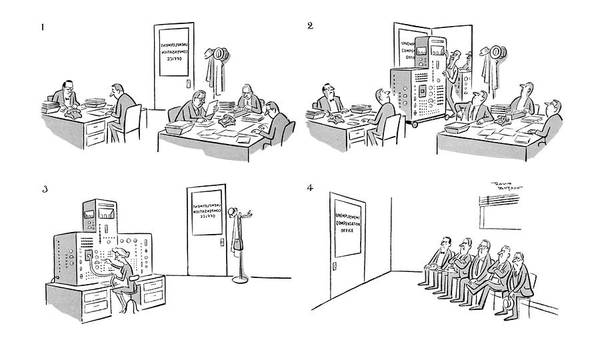 Chairman Of The Board Drawing - New Yorker June 18th, 1960 by David Langdon