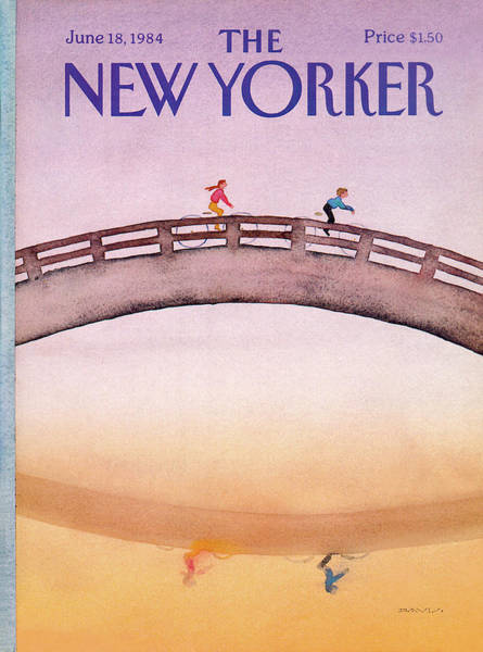 Bicycle Painting - New Yorker June 18th, 1984 by Susan Davis