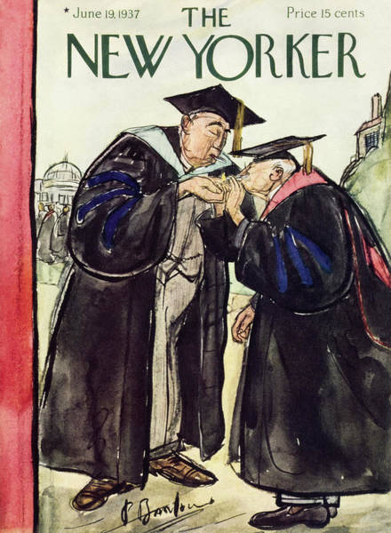 Graduation Painting - New Yorker June 19 1937 by Perry Barlow