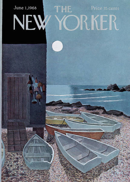 Full Moon Painting - New Yorker June 1st, 1968 by Charles E Martin