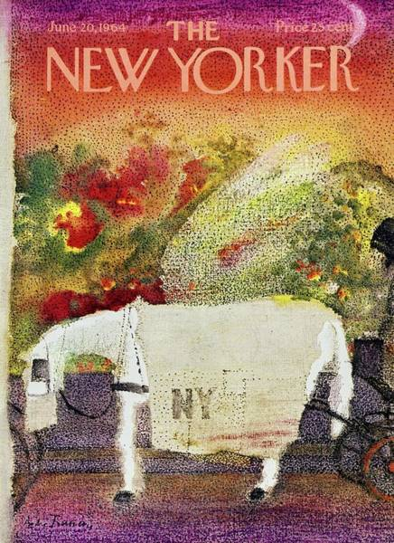 1960s Fashion Painting - New Yorker June 20th 1964 by Andre Francois